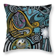 Girl In The Moon Throw Pillow