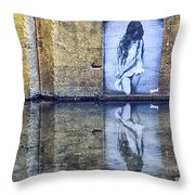 Girl In The Mural Throw Pillow