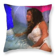 Girl In The Pool 1 Throw Pillow