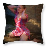 Girl In The Pool 10 Throw Pillow