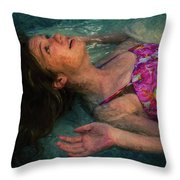 Girl In The Pool 11 Throw Pillow