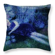 Girl In The Pool 12 Throw Pillow