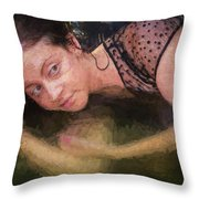 Girl In The Pool 13 Throw Pillow