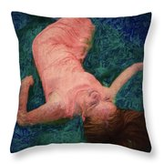 Girl In The Pool 14 Throw Pillow