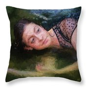 Girl In The Pool 15 Throw Pillow