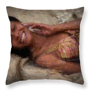 Girl In The Pool 18 Throw Pillow