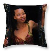 Girl In The Pool 19 Throw Pillow
