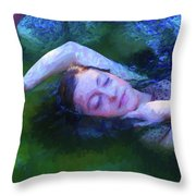 Girl In The Pool 20 Throw Pillow