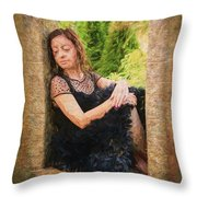 Girl In The Pool 21 Throw Pillow