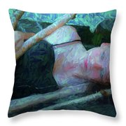 Girl In The Pool 23 Throw Pillow