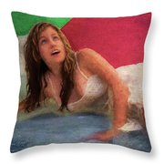 Girl In The Pool 3 Throw Pillow