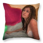 Girl In The Pool 4 Throw Pillow
