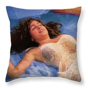 Girl In The Pool 5 Throw Pillow