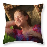 Girl In The Pool 9 Throw Pillow