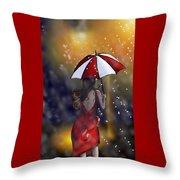 Girl In The Rain  Throw Pillow