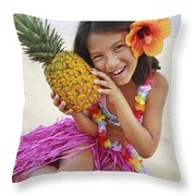 Girl In Tropical Paradise Throw Pillow by Brandon Tabiolo - Printscapes