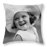 Girl In Wide Brimmed Hat, C.1930s Throw Pillow
