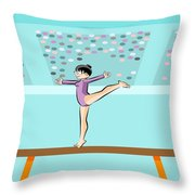 Girl Jumps On One Foot On The Balance Beam Throw Pillow