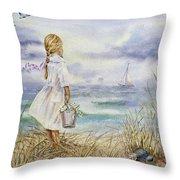 Girl And Ocean Watercolor Throw Pillow