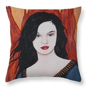 Girl Of Fire Throw Pillow