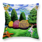 Girl On A Bike Throw Pillow