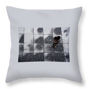 Girl On A Grid Throw Pillow