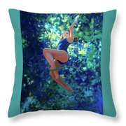 Girl On A Rope Throw Pillow