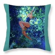 Girl On A Rope Throw Pillow by Kevin Lawrence Leveque