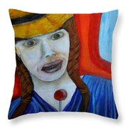 Girl On A Train Throw Pillow