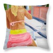 Girl On Bike Throw Pillow