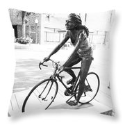 Girl On Bike Sculpture Grand Junction Co Throw Pillow
