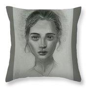 Girl On Canvas Throw Pillow