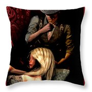 Girl On Couch Man On Curtain Throw Pillow