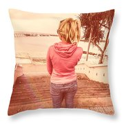 Girl On Redcliffe Travel Holiday Throw Pillow