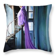 Girl On Staircase Throw Pillow