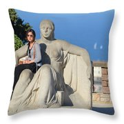 Girl On Statue Mt. Juic Barcelona Throw Pillow