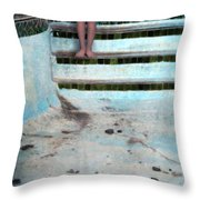 Girl On Steps Of Empty Pool Throw Pillow