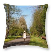 Girl On Trail In Straw Hat Throw Pillow