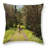 Girl On Trail With Walking Stick Throw Pillow