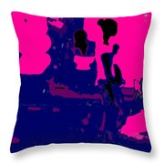 Girl Passing Coconut Vendor Reading Throw Pillow