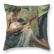 Girl Playing Domra  Throw Pillow