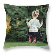 Girl Playing Outside Throw Pillow