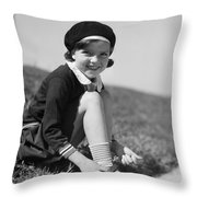 Girl Putting On Roller Skates, C.1930s Throw Pillow