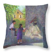Girl Reading A Letter Throw Pillow
