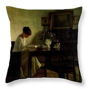 Girl Reading In An Interior  Throw Pillow by Carl Holsoe