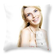Girl Reminiscing A Trip To Europe With A Memento Throw Pillow