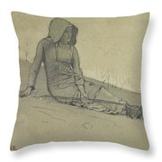 Girl Seated On A Hillside Throw Pillow