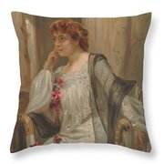 Girl - Sensuousness - Beauty - Vintage - Wall Art - Art Print - Serenity - Flowers Throw Pillow