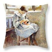 Girl Sewing Throw Pillow