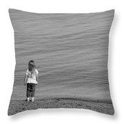 Girl Shore Throw Pillow